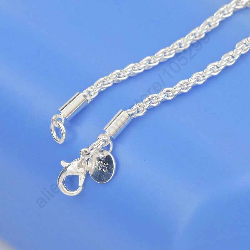 1PC 3MM Width Best Quality Pure 925 Sterling Silver Fashion Rope Chains Necklace Jewelry Lobster Clasps Length 16-24Inch