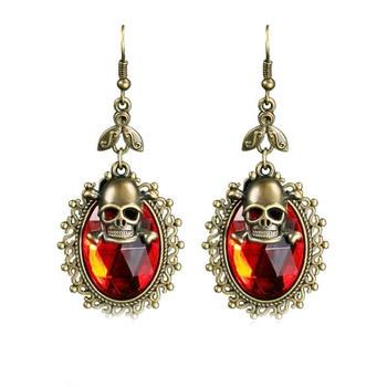 Elegant Crystal Skull Drop Dangle Earrings