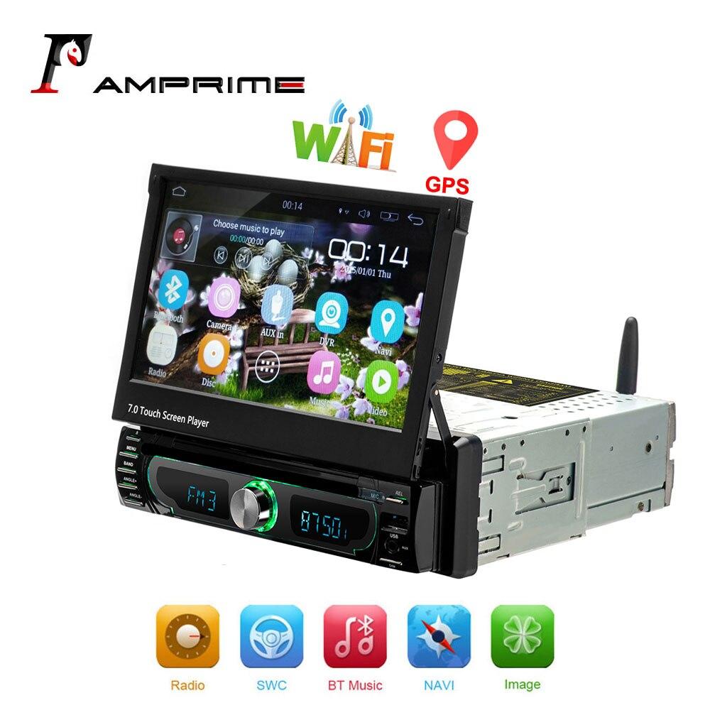 AMPrime Autoradio 1 din Autoradio Android GPS 7 pouces HD écran tactile voiture lecteur multimédia miroir lien Support caméra de recul