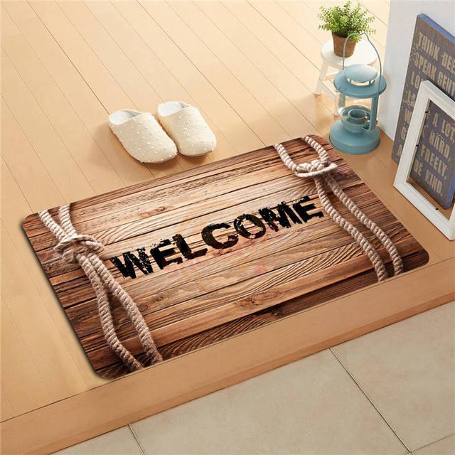 P-J/q87 Custom WELCOME wood pattern #5 Doormat Home Decor Door mat Floor Mat Bath Mats foot pad #1121#-q#D87