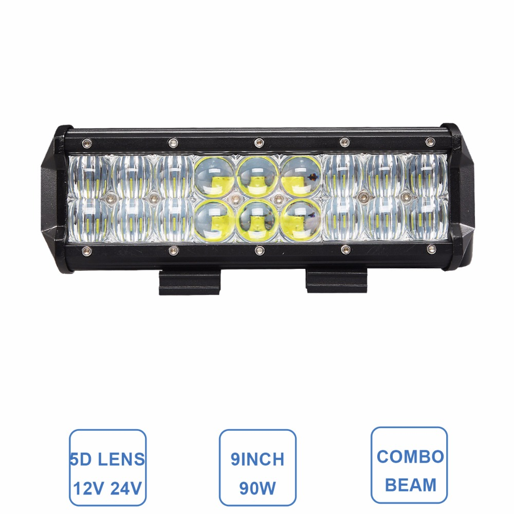 90W Combo 9 Inch Offroad LED Work Light Bar 12V 24V Car Truck Trailer Tractor Camper Wagon Pickup Headlight SUV 4X4 4WD Fog Lamp oslamp 52 300w spot flood combo beam offroad led light bar 12v 4x4 truck trailer tractor camper tractor 24v suv vans wagon 4wd