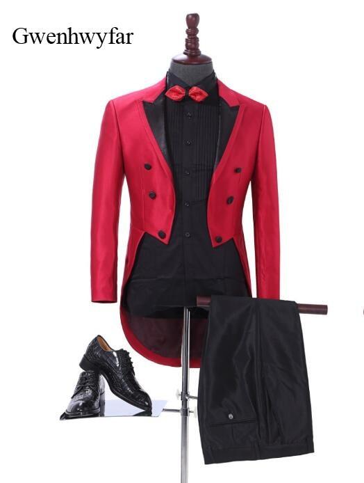 Mens Peak Lapel Classic Fit 3pc Tailcoat Suit Wedding Men Suit Groom Tudexo Party Suit
