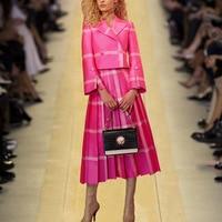 2018 Autumn European Women Fashionable New Elegant Draped Plaid High Quality Knee Length Skit Plus Size