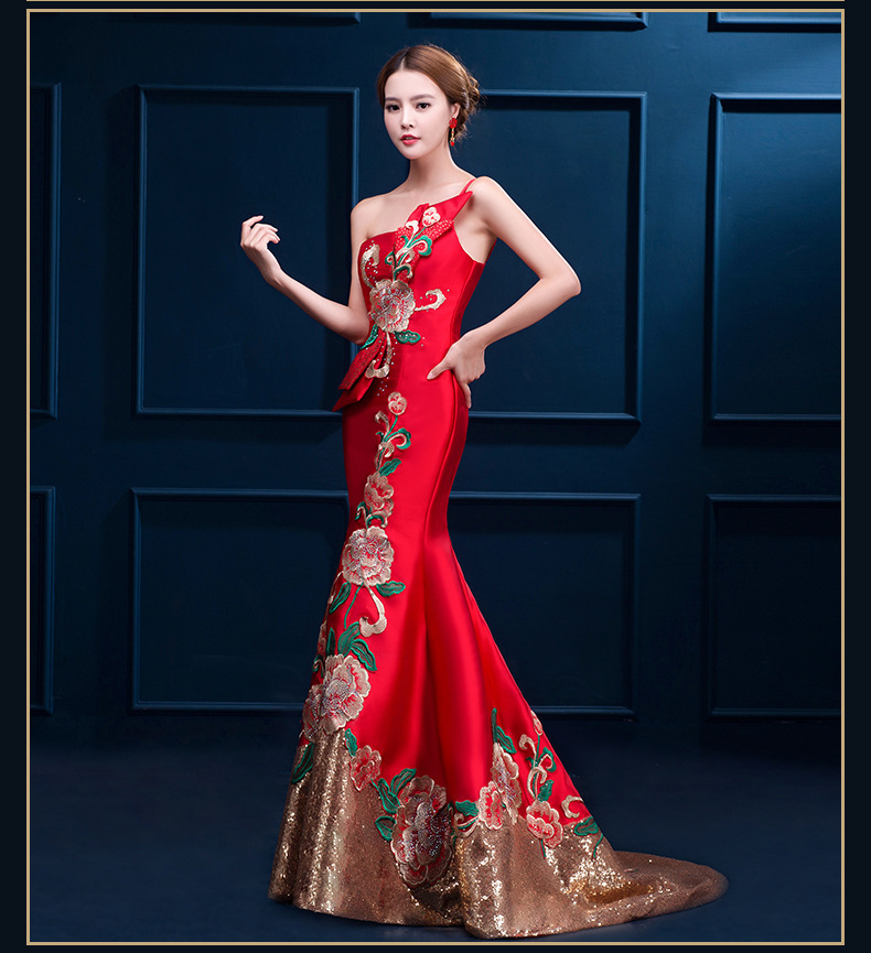 23ec6fe76 Luxury Red Mermaid Chinese Evening Dresses Flower Embroidery Qipao Long  Cheongsam One Shoulder Bride Oriental Wedding Dress