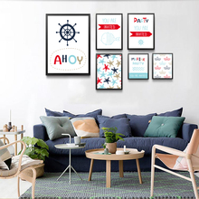 Cartoon Abstract Canvas Print, Ahoy Wall Art Poster, Marine Party Pictures For Children Room HD2358