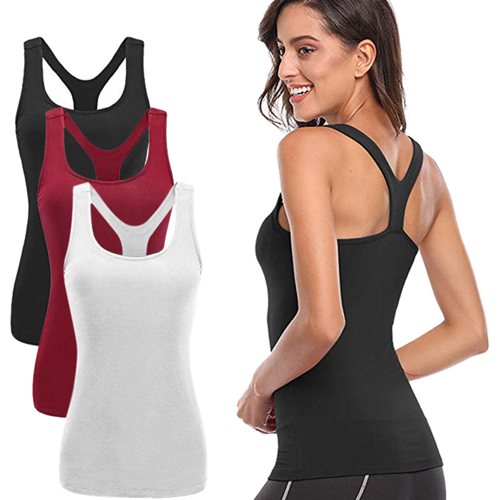 Womens Yoga Workouts Strappy Back Sport Tank: Women Workout Sport Yoga Cold Shoulder Solid Strappy Basic