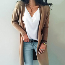 Women knitted long sleeve long sweater cardigan for female women 2018 autumn new overcoat outwear coats women autumn S M L XL