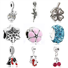 Btuamb New Arrival Star Cherry Flower Crystal Pendant Beads Fit Original Pandora Bracelets Necklaces for Women Making Jewelry(China)