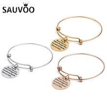 99a514ebdb2e SAUVOO usted es más valiente que usted cree ajustable de acero inoxidable  encanto pulseras para mujeres oro Color pulsera brazal.