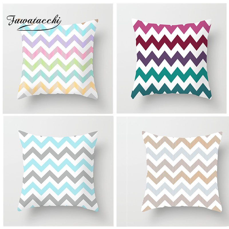 Fuwatacchi Colorful Geometry Pattern Cushion Cover Striped Printed Pillowcases Pillow Covers Sofa 45x45cm Luxury