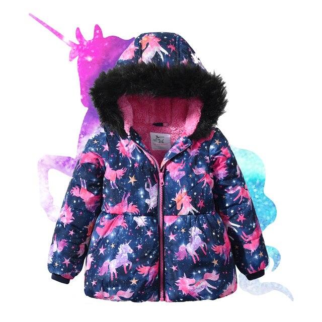 Baby Girl Winter Coats Waterproof Fur Hoodie Collar Jacket 2019 Kids Clothes Warm Thicken Fleece Outerwear Children's Parkas