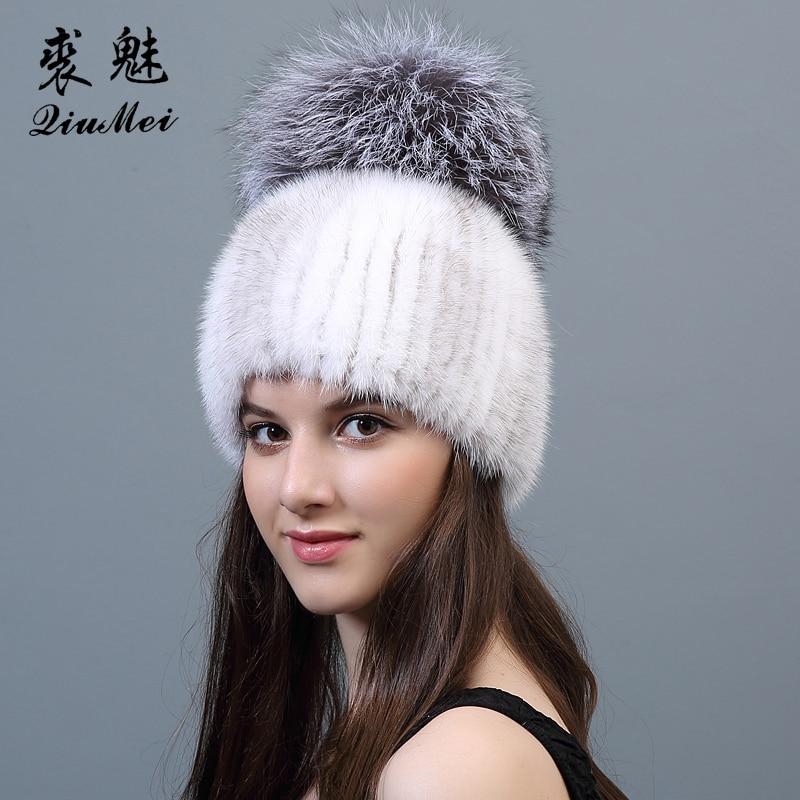 Fox Fur Pompom Hat For Women New 2017 Knitting Beanies Brand Russian Genuine Fur Cap Hats Real