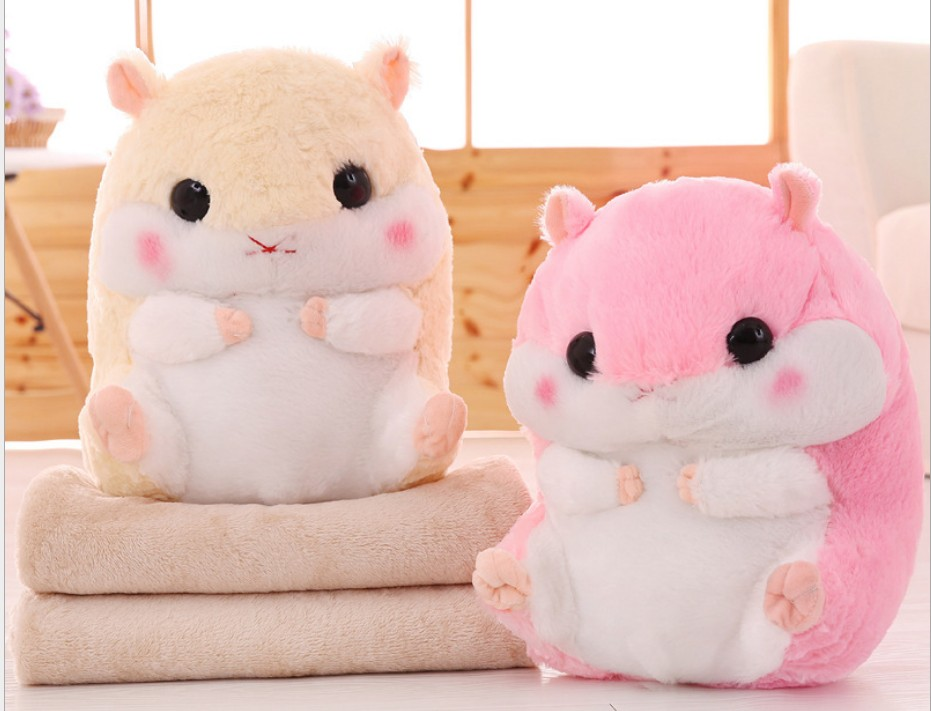 Hamster plush Toy 30x40cm Stuffed Pillow Animal 100x160cm Cushion Blanket Birthday Gift Baby Boys Kids Toy Car Sofa Blanket B307