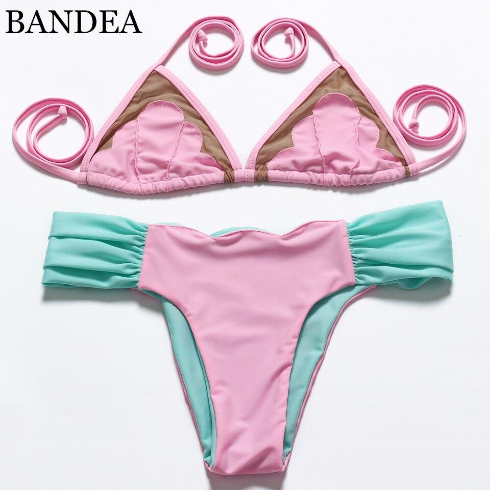 2016 Sexy Women Halter Swimwear Low waist Bikini Brazilian Mesh Swimsuit Beachwear Bathing Suits