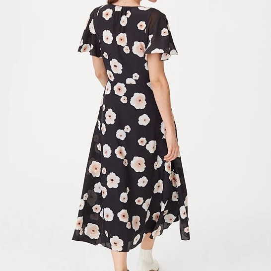 Vestido largo estampado de flores con cuello en V negro a juego con Slip 2019 otoño nuevo para mujer-in Vestidos from Ropa de mujer    2