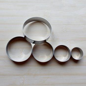 Juego de cinco piezas redondas para hornear, molde para pasteles y galletas, combinación de acero inoxidable para hornear, herramientas de decoración de pasteles Diy