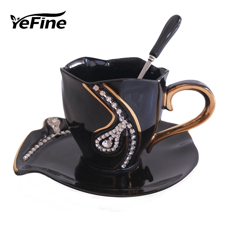 YEFINE Diamonds Design Kaffekrus Kreative Gaveelsker Te Cups 3D Keramiske Krus Med Rhinestones Decoration Cups And Saucer