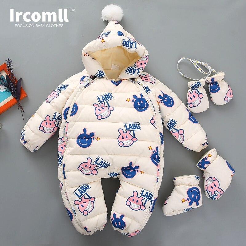 Ircomll Mais Novo Graffiti Coelho Com Capuz Forro de Lã Grossa Bebê Macacão Macacão de Inverno Crianças Para Baixo Roupas de Algodão da criança