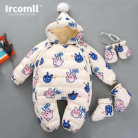 Ircomll/Новинка; зимние комбинезоны; граффити; Кролик; с капюшоном; плотная флисовая подкладка; Детский комбинезон; детская пуховая хлопковая о...