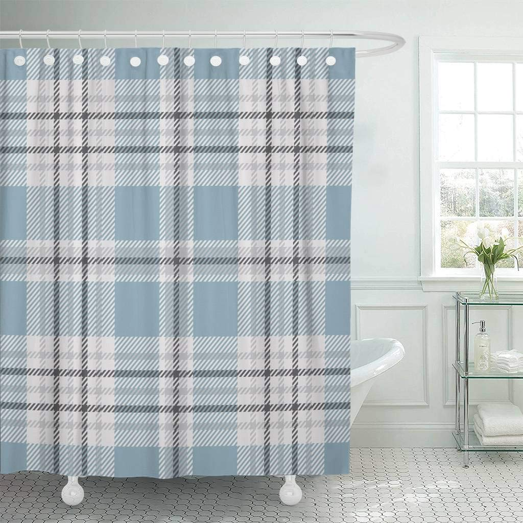 Us 17 34 35 Off Fabric Shower Curtain Blue Check Tartan Plaid Pattern Traditional Checkered For Digital Gray Grey Golf Border Bathroom Curtains In