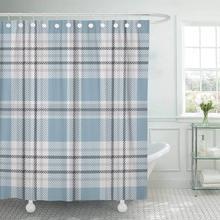 CHARM HOME Fabric Shower Curtain Blue Check Tartan Pattern