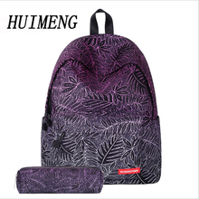 HUIMENG Women Backpack Canvas Tree Leaf Flowers Printing School Bags With Pen Case Set For Teenager Girls Cute Schoolbag