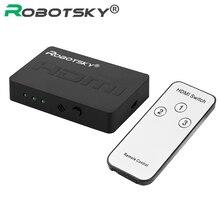 3x1 HDMI Splitter 3 Port Hub Box Auto Schalter 3 In 1 Out Switcher 1080p HD 1,4 mit Fernbedienung für HDTV XBOX360 PS3 Projektor