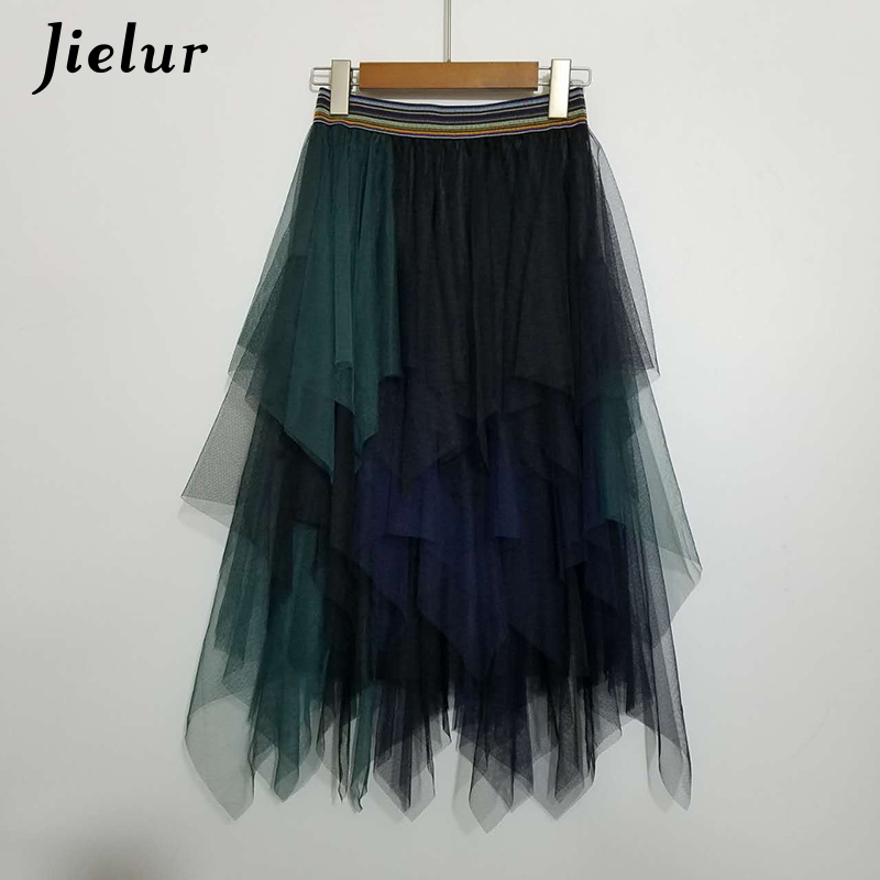Jielur High Waist Women Skirt Spell Color Voile Dance Tutu Skirts Irregular Half Length Tulle Skirt Lolita Petticoat Midi Rokken