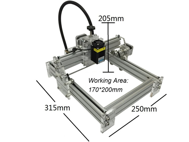 DIY Laser Engraving Machine 2500mw MINI Laser Engraver Laser Cutter Carving Size 17*20CM jz 5 diy 500mw mini usb laser engraving machine stamp carving machine laser cutter for windows xp 7 8 10