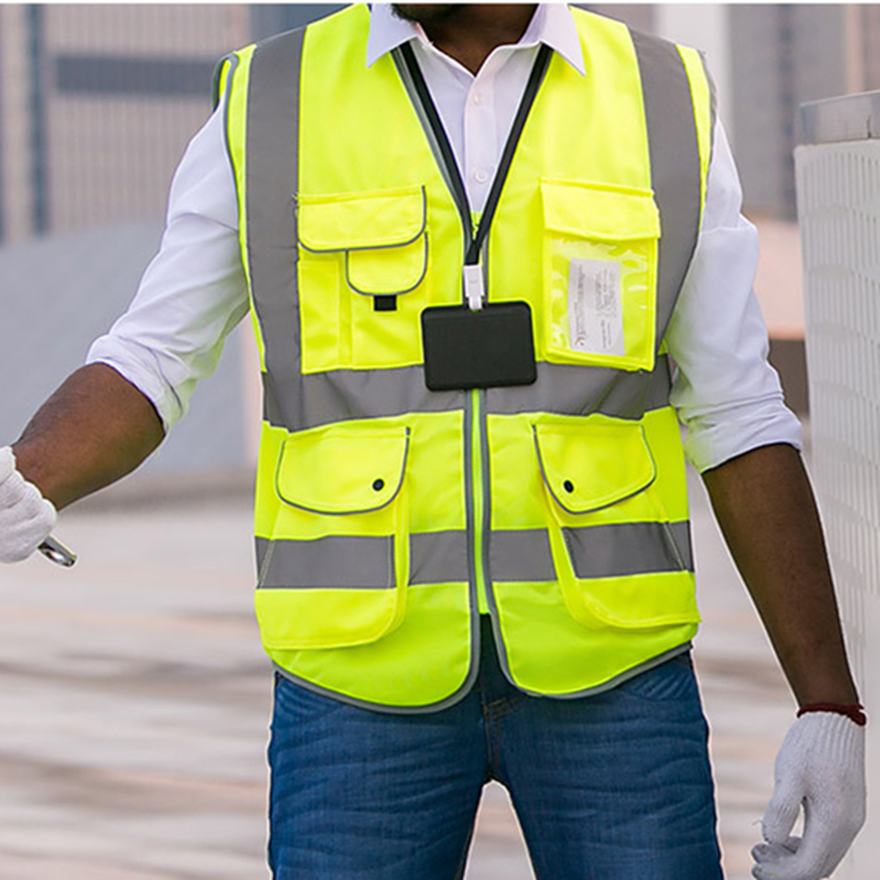 Hot Sale Unisex High Visibility Reflective Multi Pockets Construction Safety Vest Working Clothes Outdoor Safety Clothing Green high visibility safety clothes