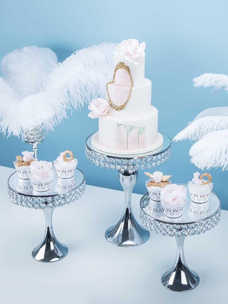 5pcs Silver Cake Stand Wedding Metal Crystal Decor Table Centerpiece Cupcake Display Mermaid Tail Stryle