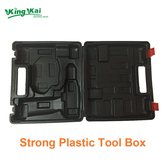 Strong Black Plastic Tools Box For Protect Electric Drill Wrench Easy Carry