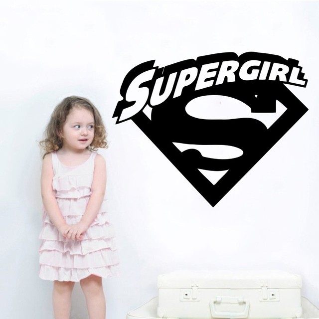 superheroes supergirl logo with cool initial wall sticker vinyl wall