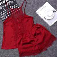 New Women Sleeping Wear Summer Sexy Pajama Sets Lace Trim Satin Spaghetti Strap Cami Top And