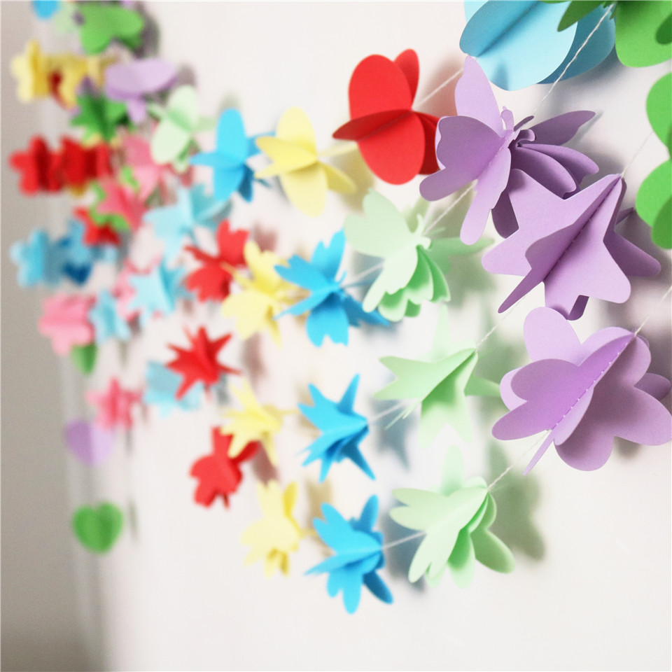 1set 16m Paper 3d Flower Stars Butterfly String Valentines Day