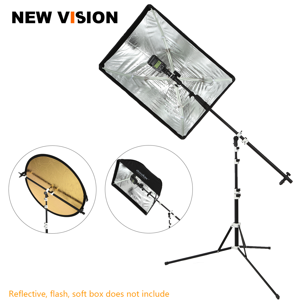2in1 Reflector Holder Bracket Boom Arm with 210cm Portable Foldable Tripod Light Stand for Studio Flash