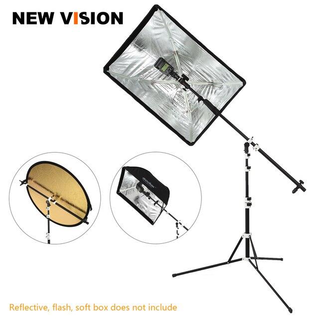 Soporte de soporte Reflector 2 en 1, brazo de soporte con trípode plegable portátil de 210cm soporte de luz para Flash de estudio Reflector Speedlide