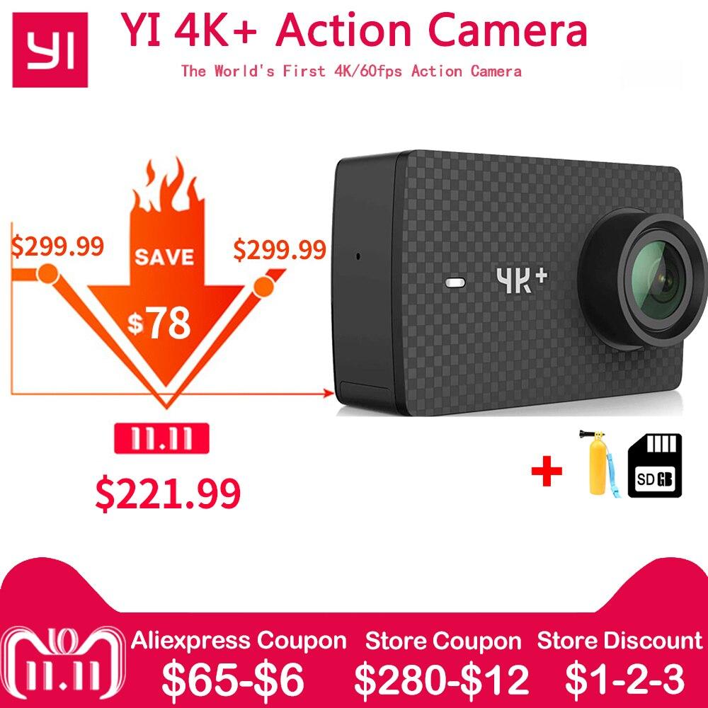 En stock Xiaomi YI 4 K + Plus caméra d'action PREMIÈRE 4 K/60fps Amba H2 SOC Cortex-A53 IMX377 12MP CMOS 2.2 PMA RAM EIS WIFI