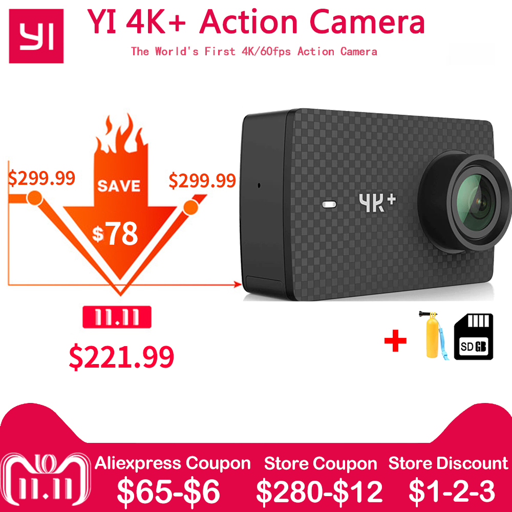 En stock Xiaomi YI 4 K + Plus caméra d'action PREMIÈRE 4 K/60fps Amba H2 SOC Cortex-A53 IMX377 12MP CMOS 2.2