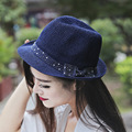 2016 New Panama Hats Woman Summer Beach Hat Sombrero De Panama Red Blue Khaki Fashion Caps Femenino de Praia Verao