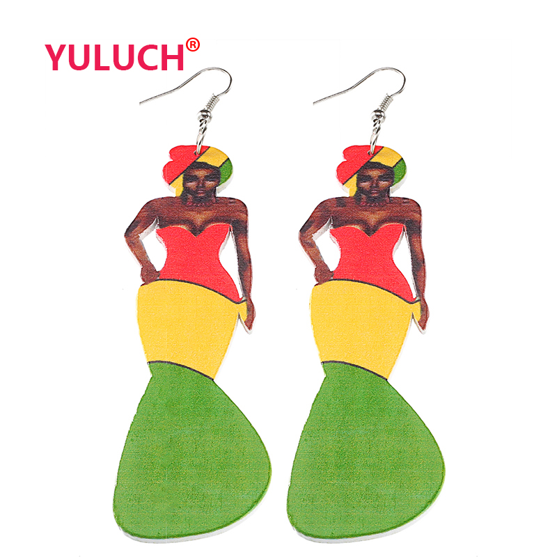 YULUCH Multi Color Wooden African Fashion Woman Painted Wood Pendant Earrings for Personality Girls Jewelry Earrings Party Gifts