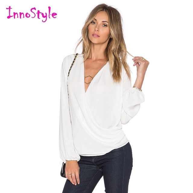 Long Sleeve V Neck Wrap Tops For Women White Ol Formal Work Blouses