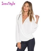 V Neck Wrap Blouses Womens White Long Sleeve Blouses Ladies Plus Size OL Work Blouses Fashion