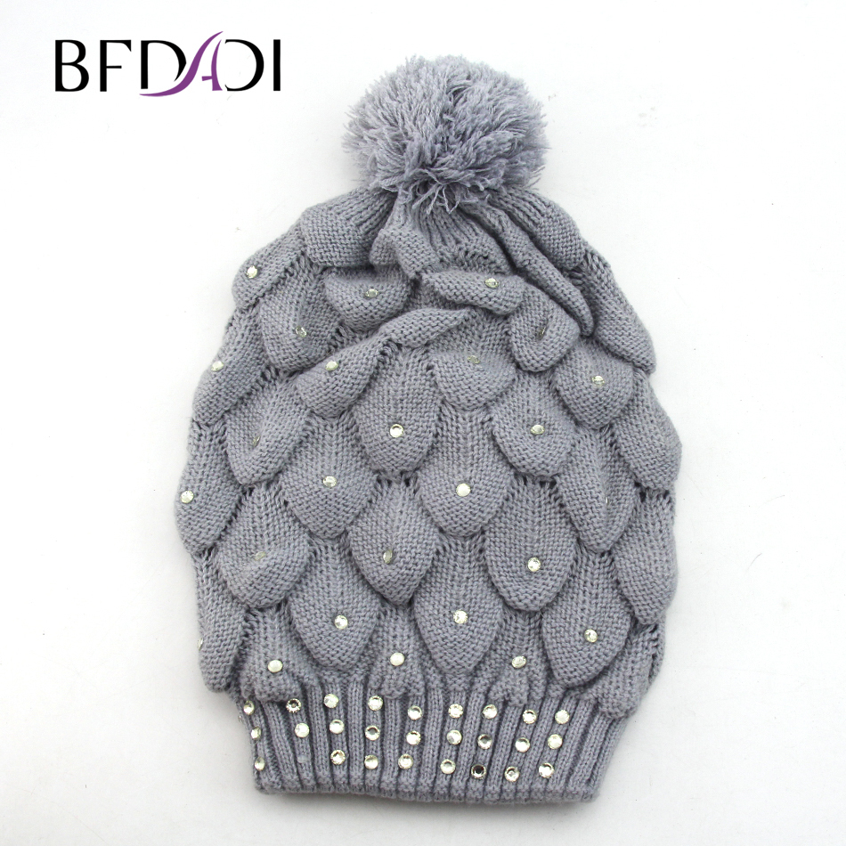 10b1d0b5072 BFDADI Knitting Beanie Geometric Hollow Patterned 2018 Winter Hat Skullies  Beanies Fur Ball Cap Winter Hat For Women-in Skullies   Beanies from  Apparel ...