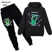 Spring Autumn Minecraft Children's Sets Long Sleeve Hoodies+Pants Casual Coat Cartoon Boys Girls Kids Jacket Streetwear Sweaters