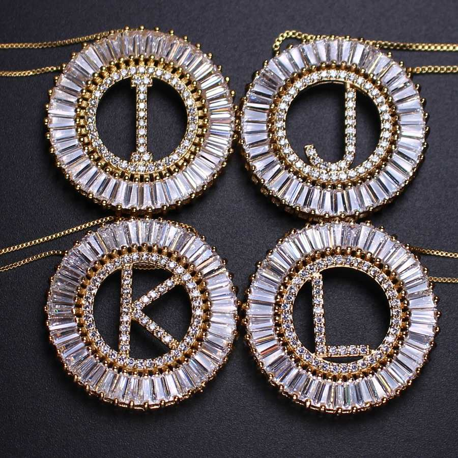 ทองสีตัวอักษรตัวอักษรจี้ 26 ตัวอักษรอังกฤษสร้อยคอจี้ Colar หญิงของขวัญแฟชั่นเครื่องประดับ PGYTLE41