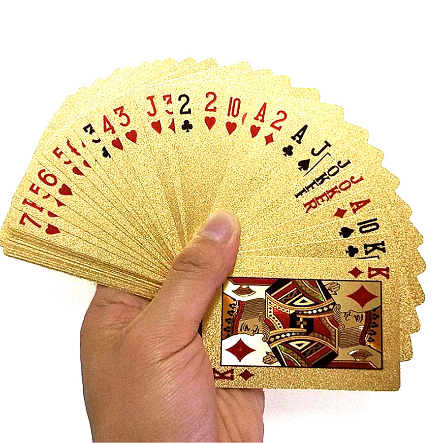 Durable Waterproof Playing Card Game Cards Gold Foil Poker Set Plastic Poker Gift Collection Table Games