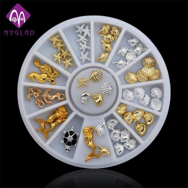 Fashion sea style gold silver stud nail art 3D design decoration