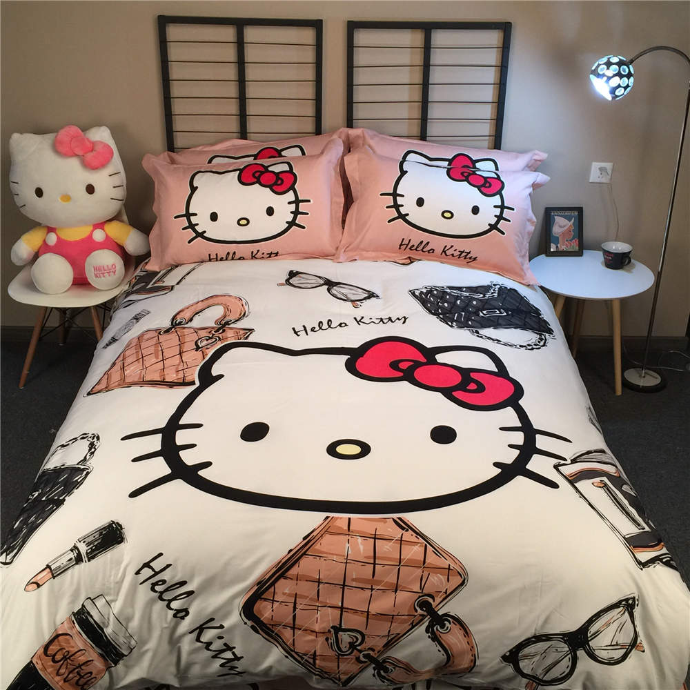 Black hello kitty bedding - Modern Hello Kitty Bedding Set Bedclothes Bed Sheets For Girl S Children S Cotton Woven 500tc Twin Queen King Size Pink Black