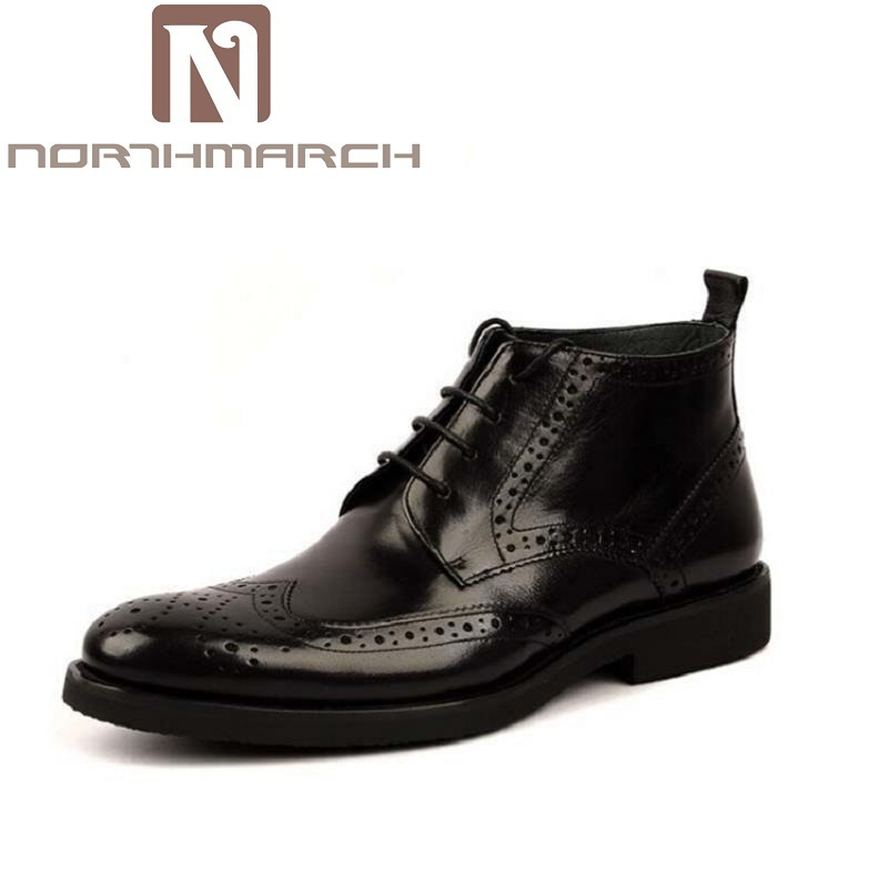 NORTHMARCH New British Style Mens Carved Brogue Shoes Business Man Ridding Boots Genuine Leathe Lace up Brown Martin Boots Black fall trendboots in europe and america heavy bottomed martin boots british style high top shoes shoes boots sneakers
